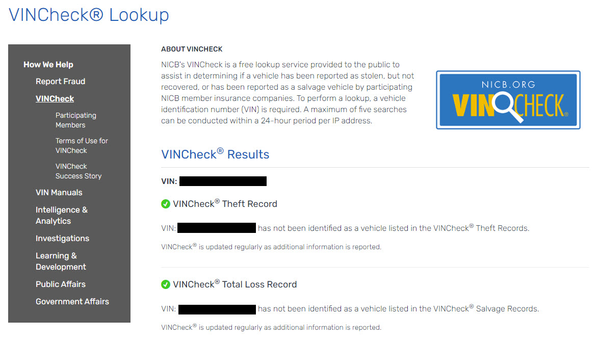 Result from VINCheck Search